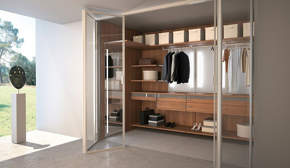 Contemporary Wooden closet, Folding glass door