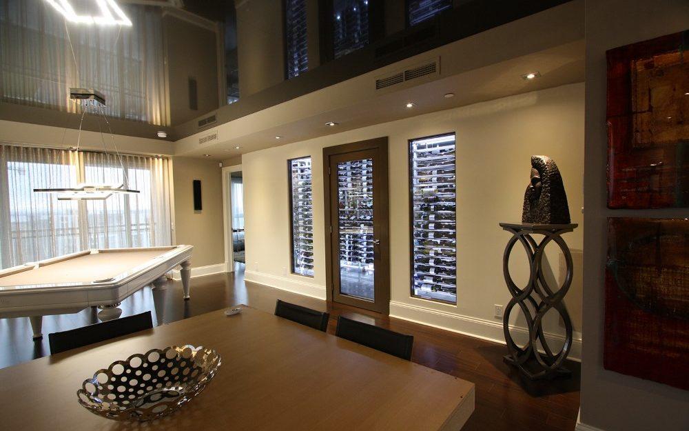 Contemporary inbuilt glass WIne Cellar
