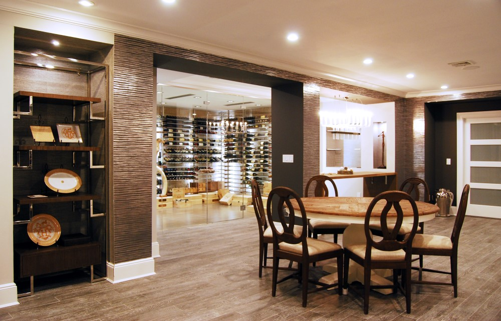 Contemporary wine tasting room with brown wooden floors