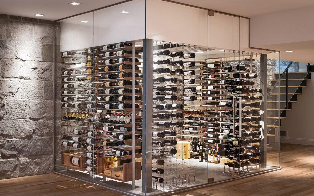 Millesime stone wall contemporary Wine Cellar