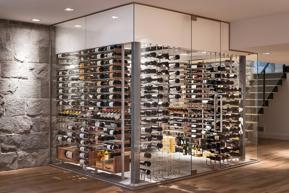 Millesime stone wall contemporary Wine Cellar