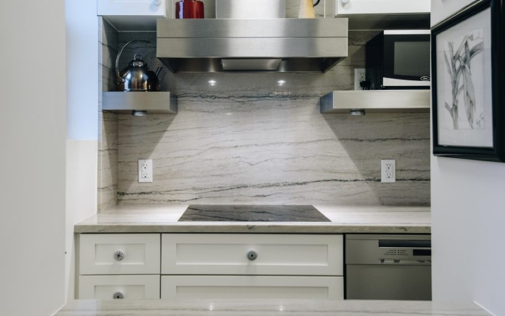 Plain and Fancy Vogue line Cascade white painted cabinets