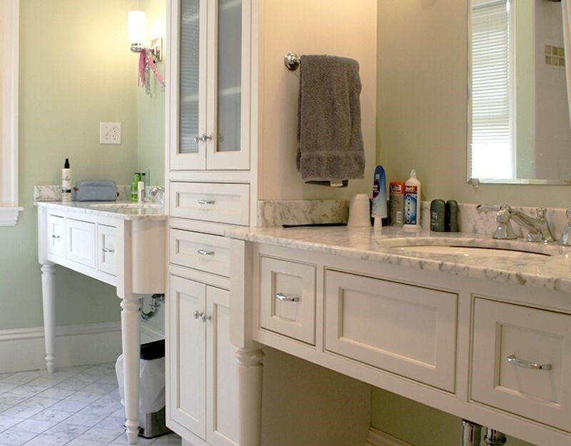 Plain and Fancy white bathroom