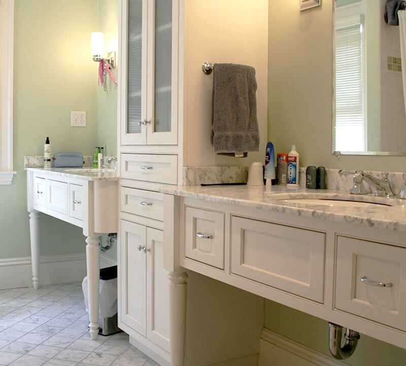 Plain and Fancy white bathroom
