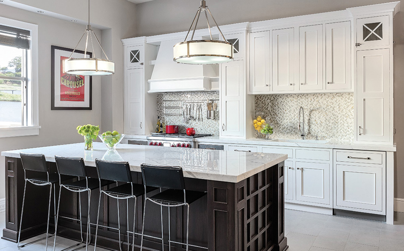 Plain and FancyWhite contemporary kitchen cabinet