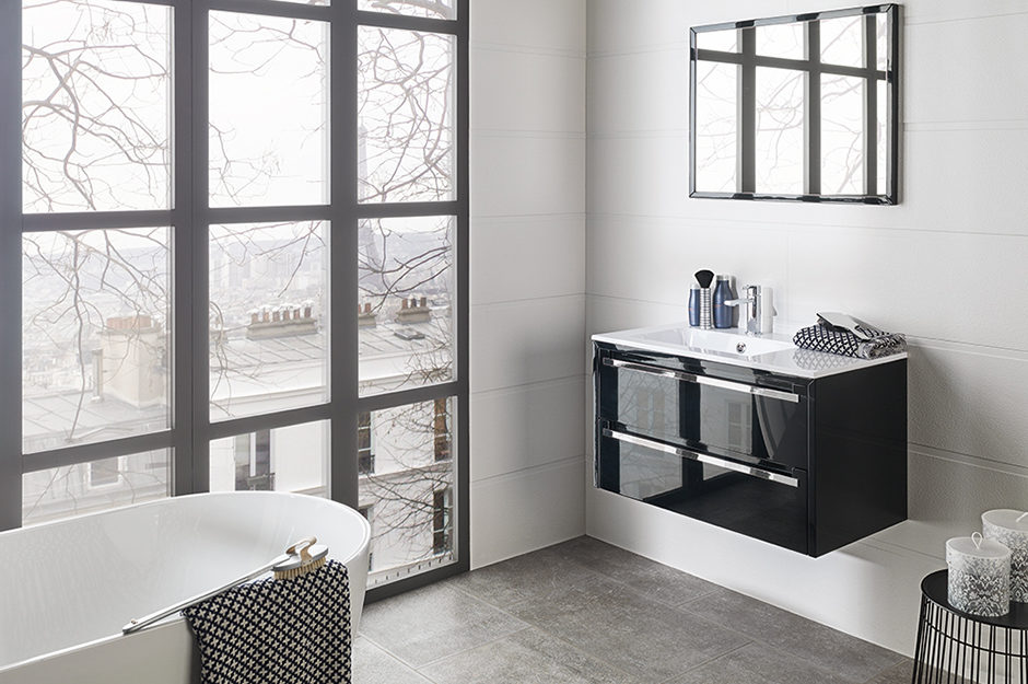 Porcelanosa Wall Tile Barbados, Blanco Vanity Way, Glass Worktop Way