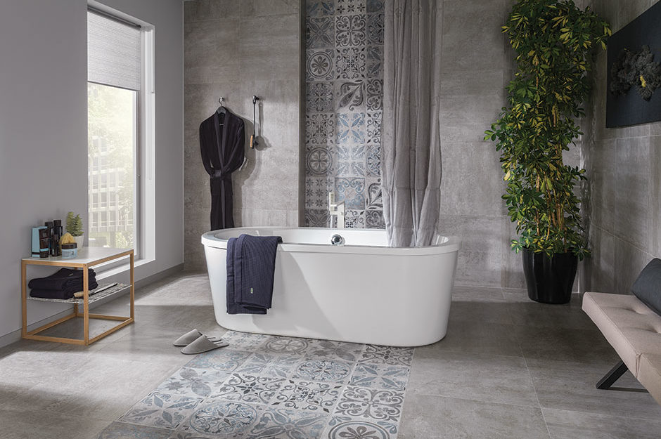 Porcelanosa Wall Tiles Antique Silver and Rodano Silver,Floor Tiles Antique Silver and Rodano Silver,Bathtub Minimal Oval