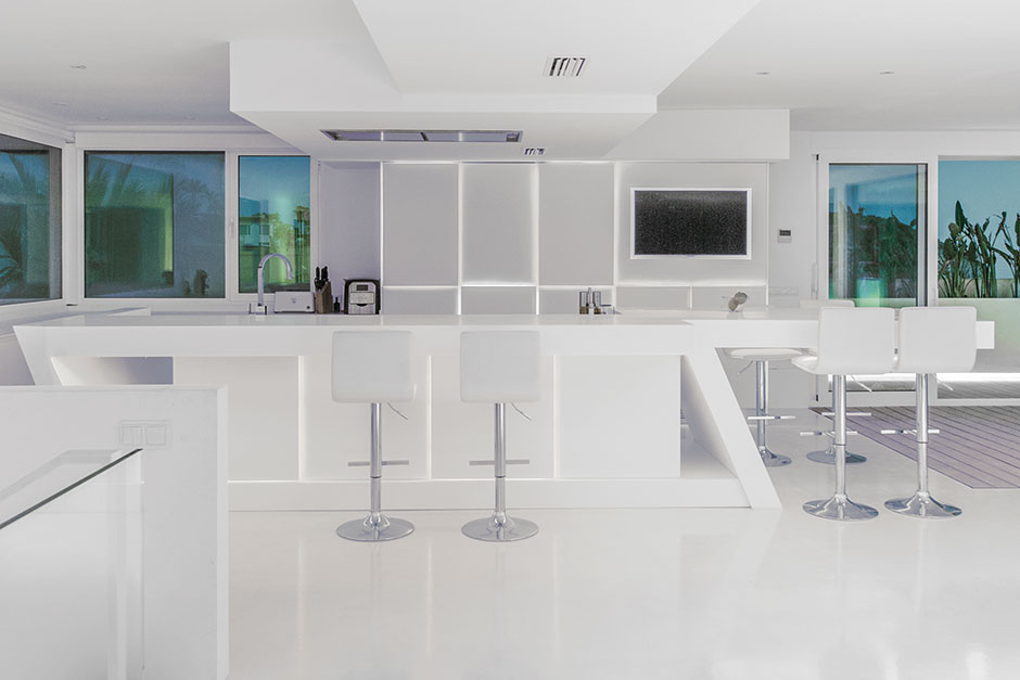 Porcelanosa krion snow white countertop and back panel