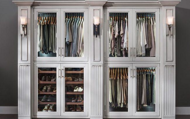 Traditional closet glass doors