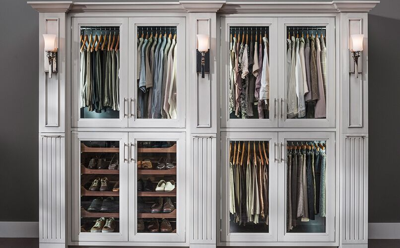 Traditional closet glass doors