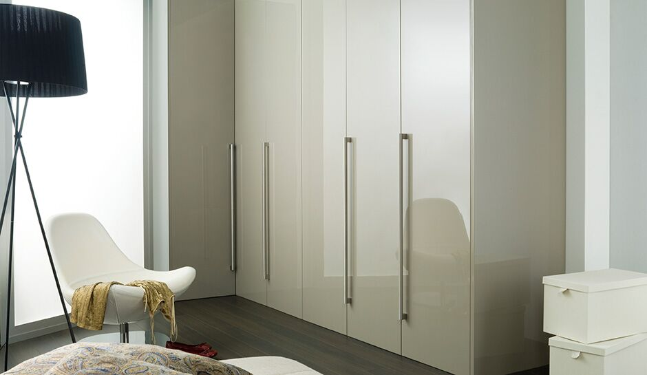 White glossy bedroom closet
