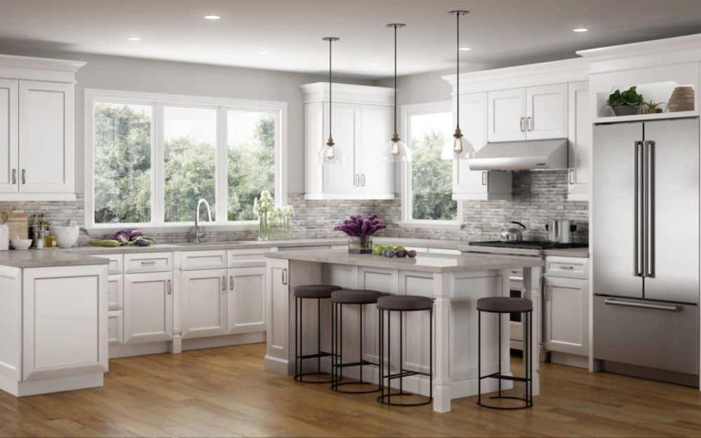 grey countertop with stainlesssteel appliances and plenty of natural light